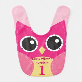 Cute Pink Owl 1st Birthday Baby Bib
