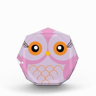 Cute pink owl acrylic award