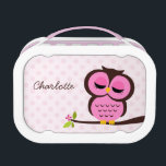 """Cute Pink Owl and Polka Dots Personalized Lunch Box<br><div class=""""desc"""">Adorable vector illustration of an cartoon owl perched on a tree branch on a whimsical polka dots background. Customize with your child&#39;s name,  monogram,  initials,  or any text of your choice.</div>"""
