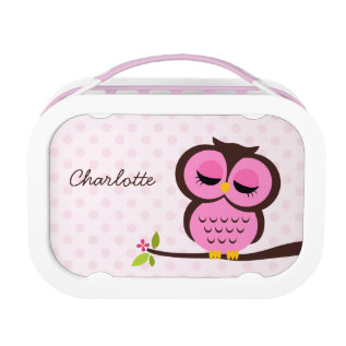 Cute Pink Owl And Polka Dots Personalized Lunch Box at Zazzle