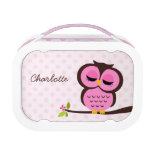 Cute Pink Owl and Polka Dots Personalized Lunchboxes