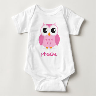 Cute pink owl animal cartoon personalized baby t-shirt