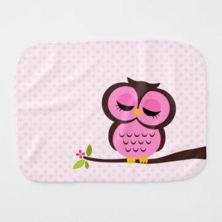 Cute Pink Owl Baby Burp Cloth