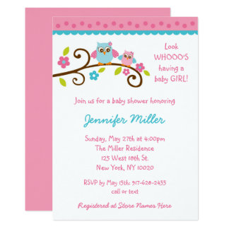 Cute Pink Owl Baby Shower Card