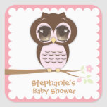 Cute Pink Owl Baby Shower for a Girl Sticker