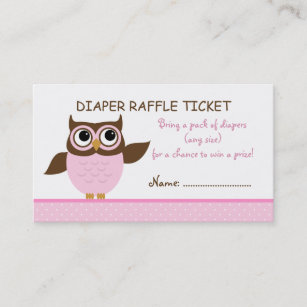 Raffle ticket business cards zazzle cute pink owl baby shower raffle business card colourmoves
