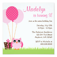 Owl birthday invitations announcements zazzle cute pink owl balloons birthday invitations filmwisefo Image collections