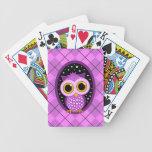 cute pink owl bicycle card deck