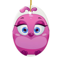 Cute pink Owl bird Ceramic Ornament