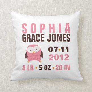 Cute Pink Owl Birth Announcement Throw Pillows