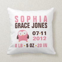 Cute Pink Owl Birth Announcement Throw Pillow