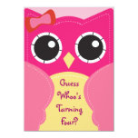 "Cute Pink Owl Birthday or Baby Shower Invitation 4.5"" X 6.25"" Invitation Card"