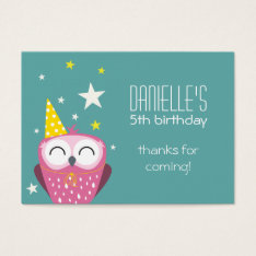 Cute Pink Owl Birthday Thank You Party Favors Business Card at Zazzle