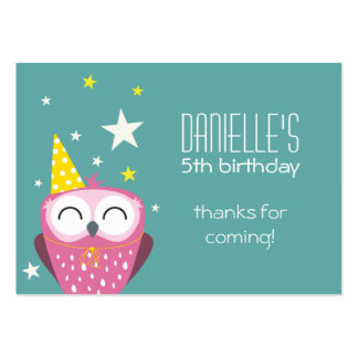 Cute Pink Owl Birthday Thank You Party Favors Large Business Cards (Pack Of 100)