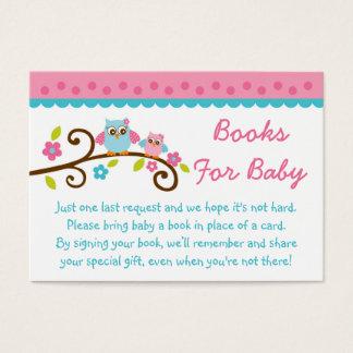 Cute Pink Owl Book Request Cards
