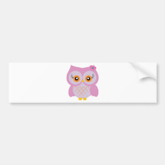 Cute pink owl bumper sticker