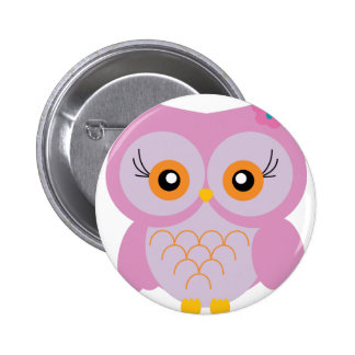 Cute pink owl button