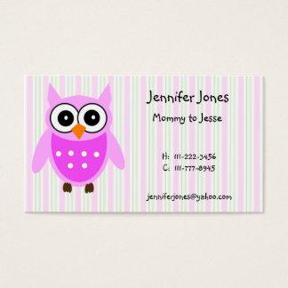 Cute Pink Owl Calling Card