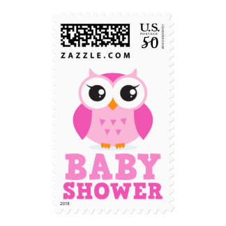 Cute pink owl cartoon character girl baby shower postage