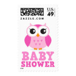 Cute pink owl cartoon character girl baby shower postage stamp