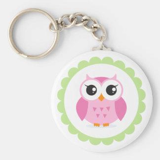 Cute pink owl cartoon inside green border basic round button keychain