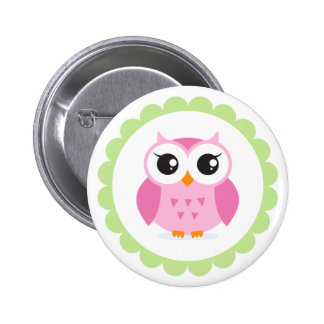 Cute pink owl cartoon inside green border 2 inch round button