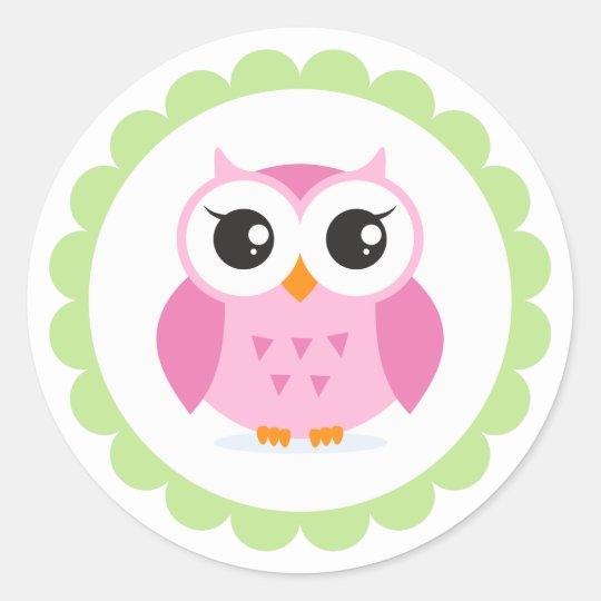 Cute pink owl cartoon inside green border classic round sticker