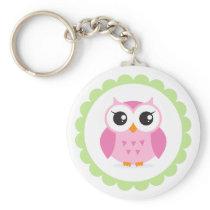Cute pink owl cartoon inside green border keychain
