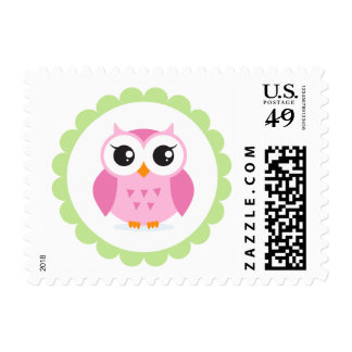 Cute pink owl cartoon inside green border postage