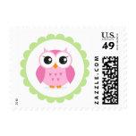 Cute pink owl cartoon inside green border stamps