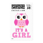 Cute pink owl cartoon its a girl new baby postage