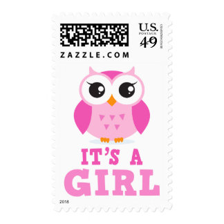 Cute pink owl cartoon its a girl new baby stamp