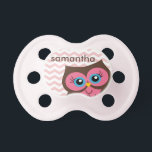 "Cute Pink Owl Chevron Zigzag Monogram Pacifier<br><div class=""desc"">Cute pink owl chevron zigzag pattern personalized monogram pacifier.  Makes a great gift for all occasions.  Click the &quot;Customize It!&quot; button to add text and more!</div>"