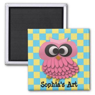 Cute Pink Owl Child's Artwork Magnet