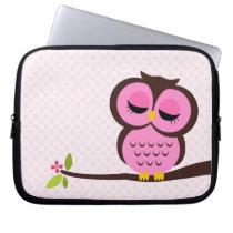 Cute Pink Owl Computer Sleeve