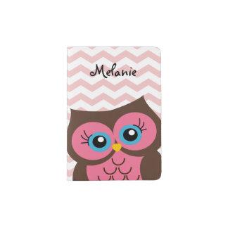 Cute Pink Owl Custom Monogram Passport Holder