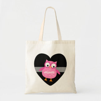 Cute Pink Owl Custom Name For Her Z01 Budget Tote Bag