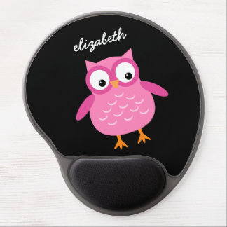 Cute Pink Owl Custom Name For Her Z01 Gel Mouse Pad