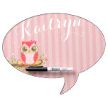 Cute Pink Owl - Custom Speech Bubble Message Board Dry-Erase Whiteboards