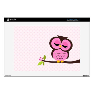 """Cute Pink Owl Decal For 13"""" Laptop"""