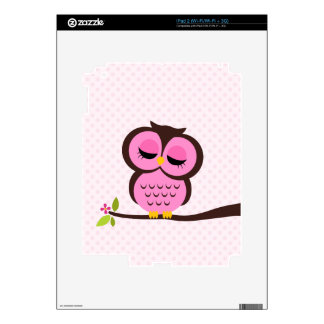 Cute Pink Owl Decals For The iPad 2
