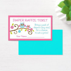 Cute Pink Owl Diaper Raffle Business Card at Zazzle
