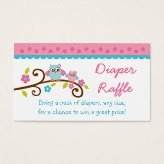 Cute Pink Owl Diaper Raffle Tickets