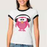 Cute Pink Owl DJ With Headphones Shirts