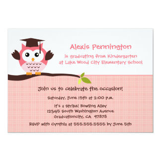Cute pink owl elementary girl's graduation party card