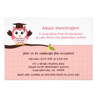 Cute pink owl elementary girl's graduation party custom invite
