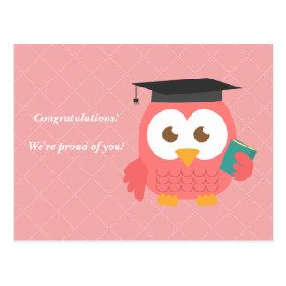 Cute Pink Owl for Graduation Postcard