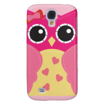 Cute Pink Owl Galaxy S4 Case