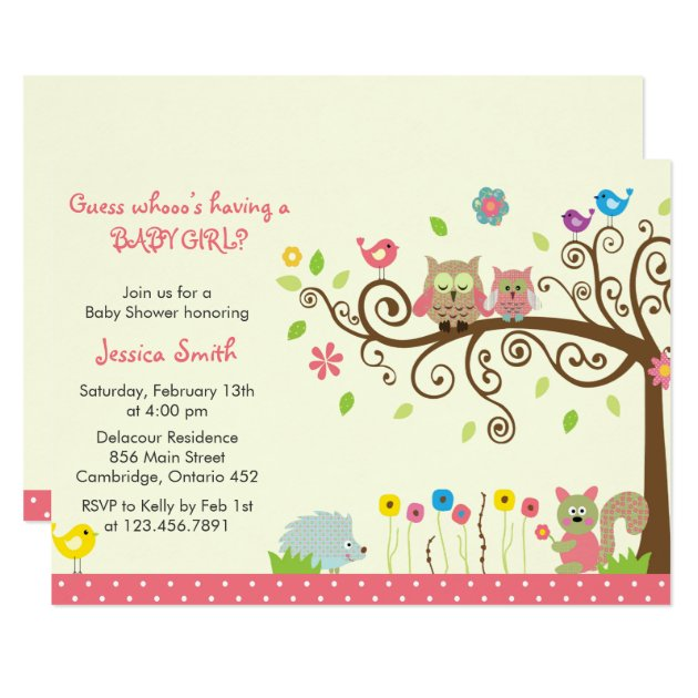 Cute Pink Owl Girl Baby Shower Invitations | Zazzle
