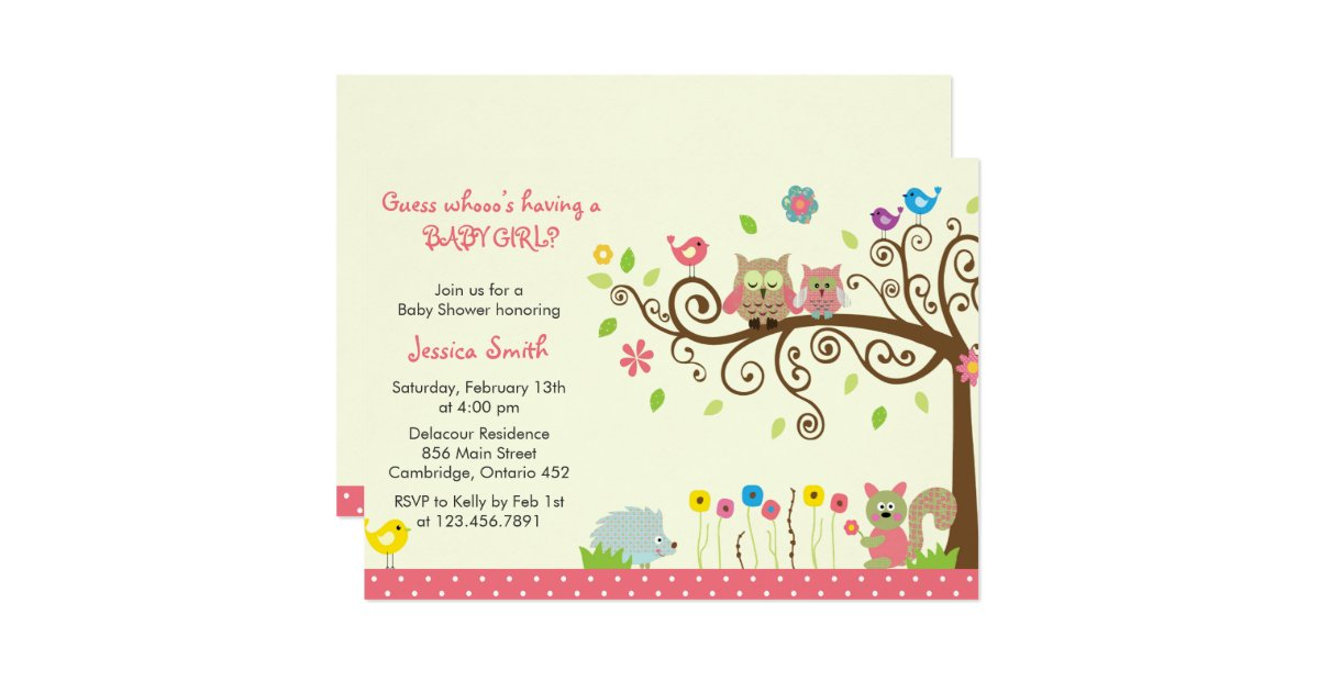 cute pink owl girl baby shower invitations zazzle